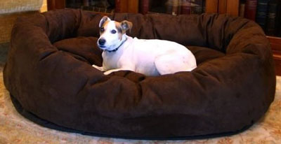 7. Majestic Pet Suede Bagel Dog Bed