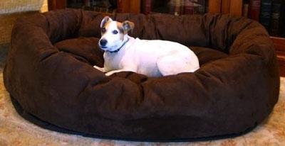 7. Majestic Pet Suede Bagel Dog Bed