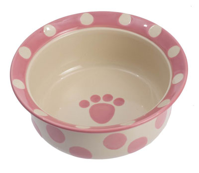 10. Petrageous Designs Polka Paws Pet Bowl