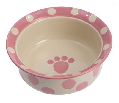 10. Petrageous Designs Polka Paws Pet Bowl
