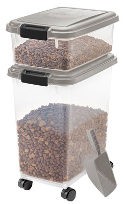 2. IRIS Airtight Pet Food Container Combo Kit in Chrome/Black