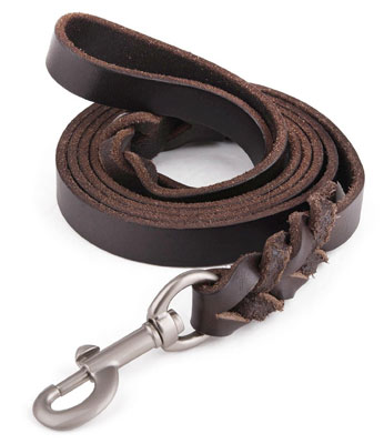5. Lavien #1 Amazon Braided Leather Dog Leash for Large Dogs, Canine (K9) Training Lead, 6ft Long By 3/4 Inch Wide, Dark Brown, Free Bag