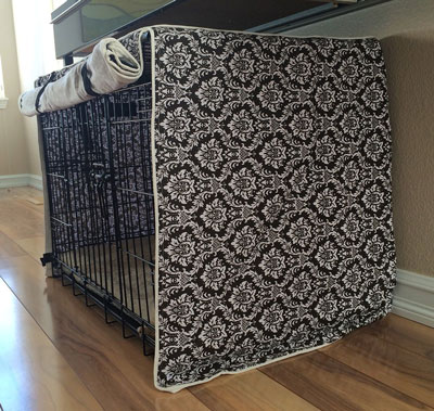7. Designer Brown Damask Dog Pet Wire Kennel Crate Cage House Cover