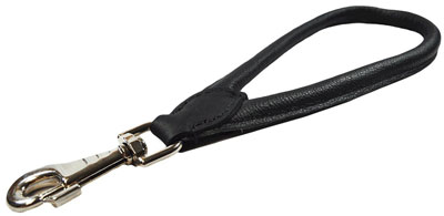 9. Peak Pooch Premium Handmade Leather Dog Short Leash Holder, Quick Grab Training, Tab Lead, Supervised Controlled Walks, Strong Heavy Duty, Soft Padded Rolled for Comfort (Color:Black, Length:1 Foot)