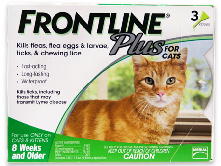 4. Merial Frontline Plus Flea and Tick Control for Cats and Kittens, 3 Doses, For Cats 8 Weeks and Older